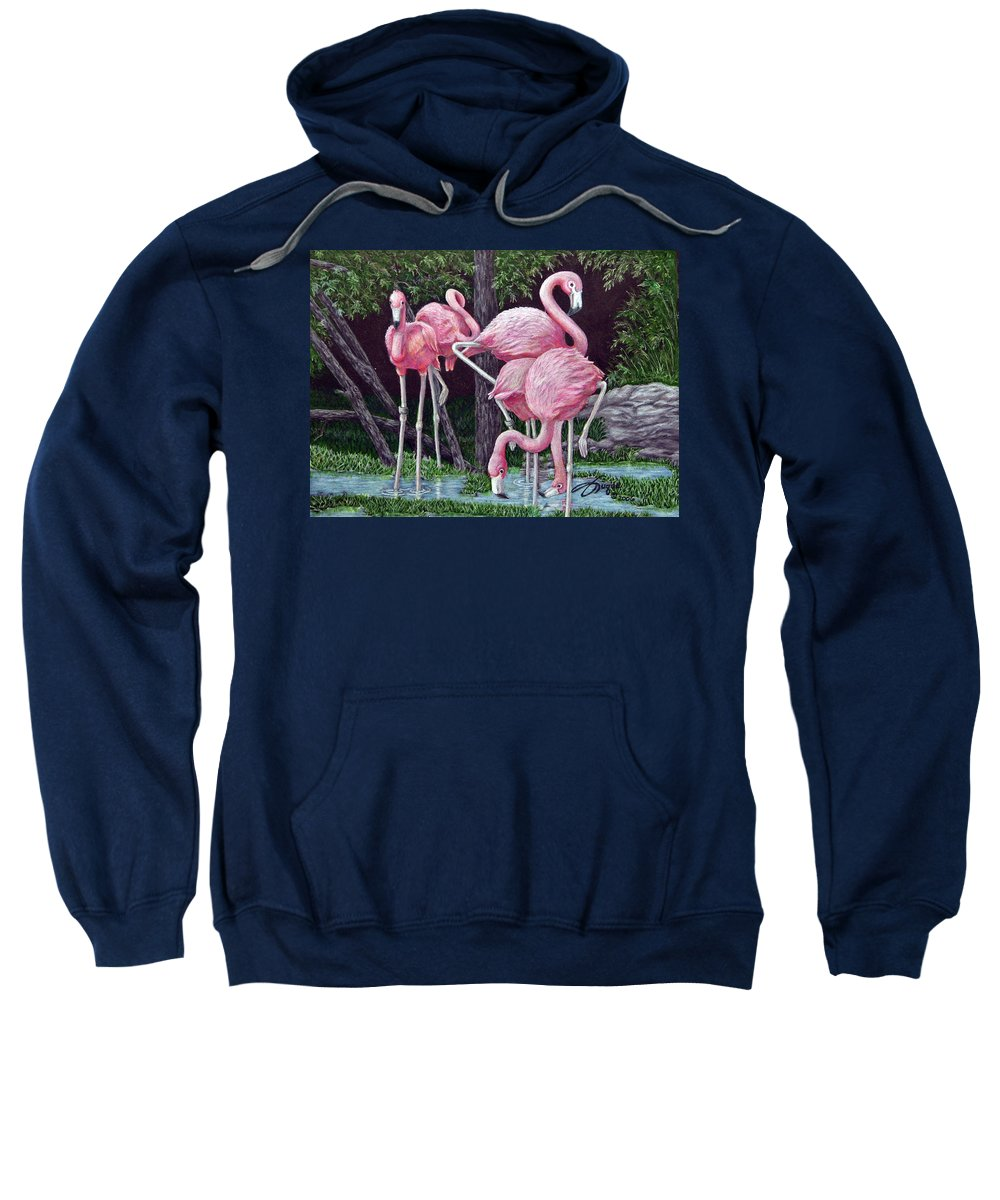 Fuqua Gallery-bev-artwork. Wildlife Sweatshirt featuring the drawing In The Pink by Beverly Fuqua