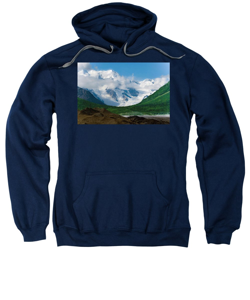 Alaska Sweatshirt featuring the digital art In The Valley by Max Steinwald