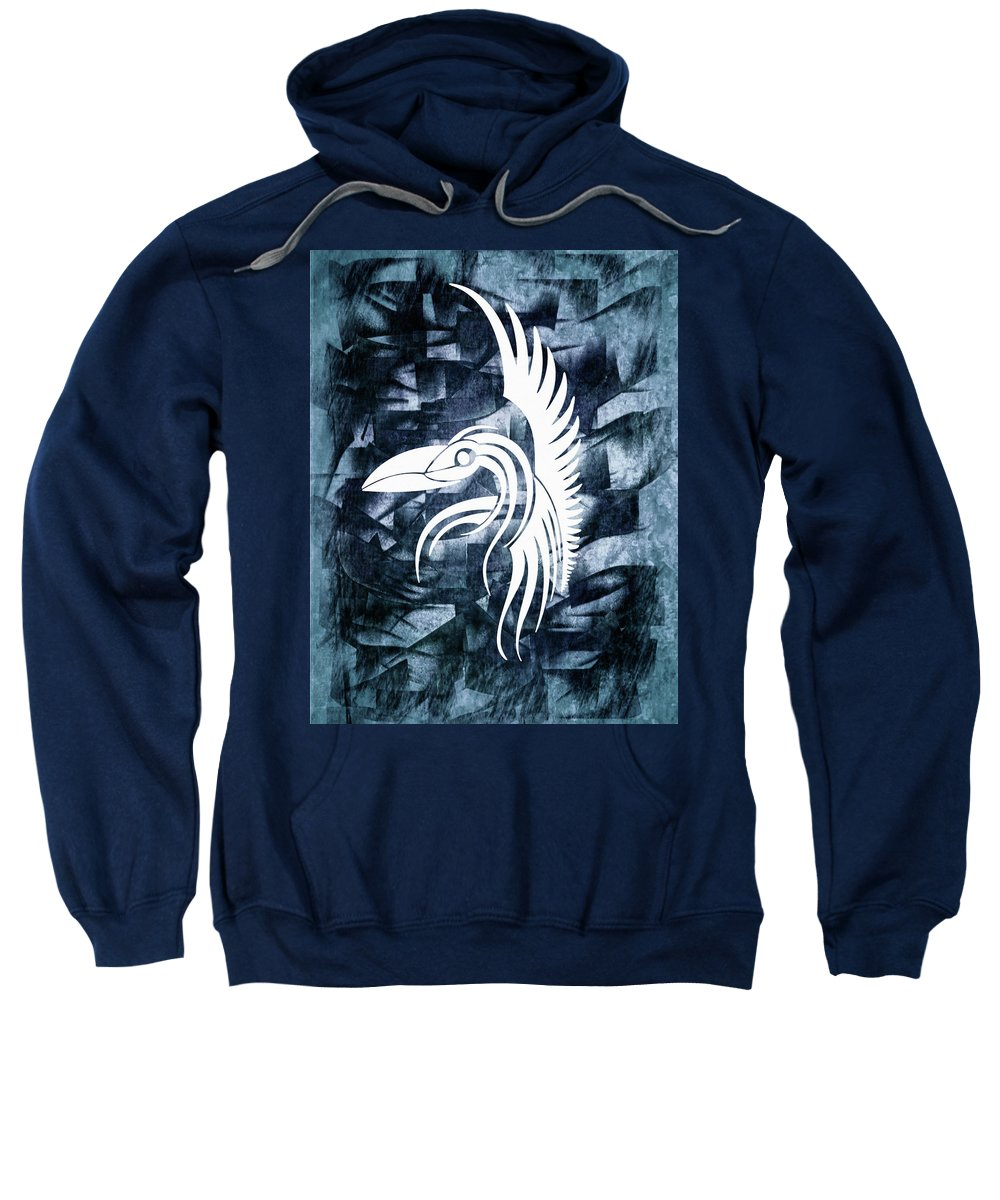 Indigo Bird Flight Contemporary Sweatshirt featuring the mixed media Indigo Bird Flight Contemporary by Georgiana Romanovna