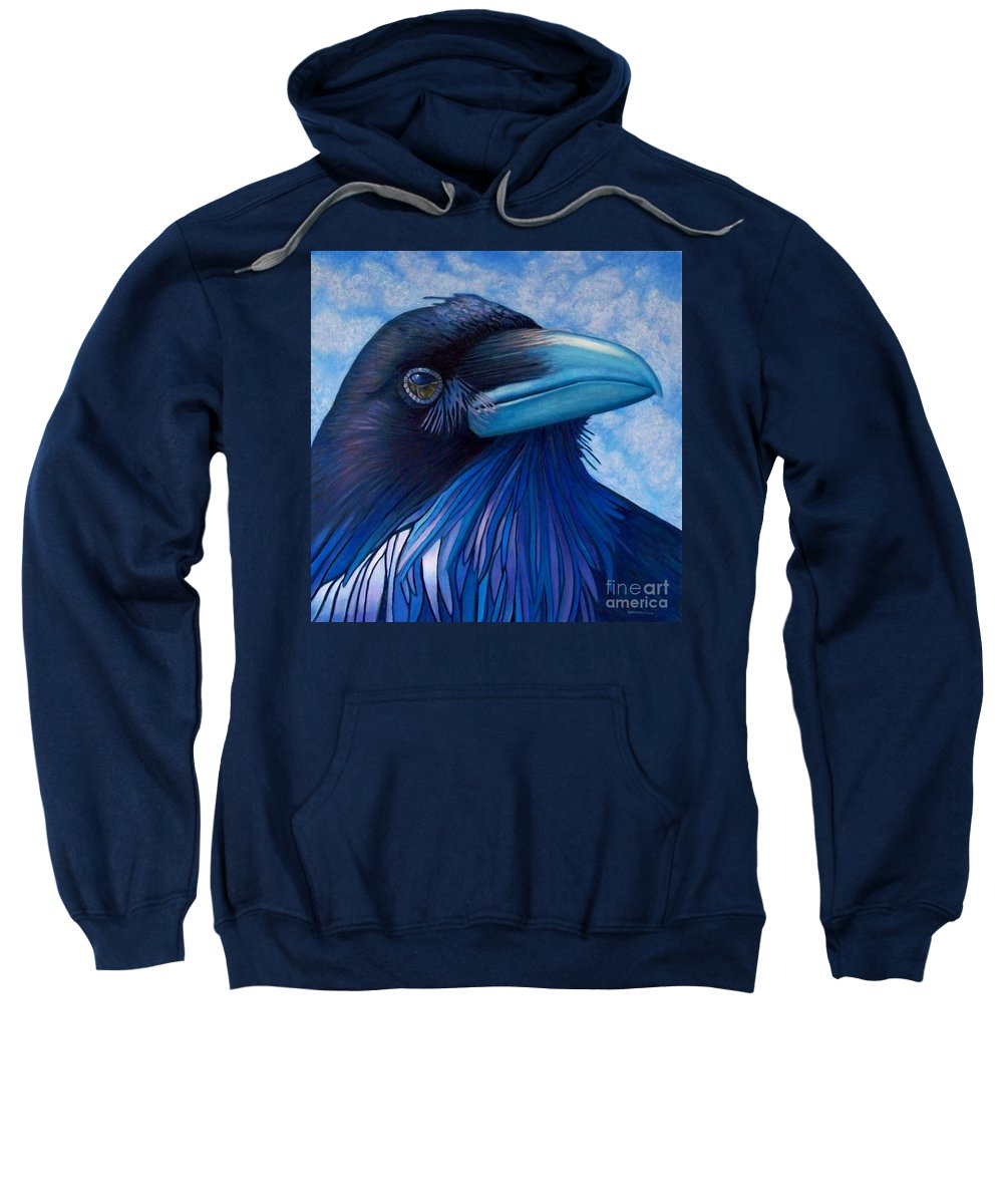 Raven Sweatshirt featuring the painting Inner Knowing by Brian Commerford