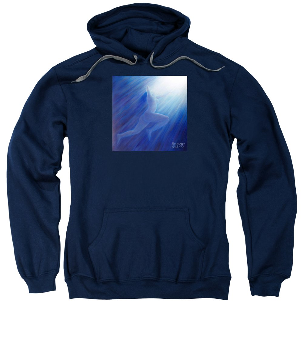 Spiritual Sweatshirt featuring the painting Into The Light by Brian Commerford