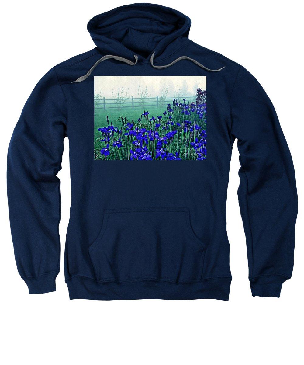 Iris Sweatshirt featuring the photograph Irises At Dawn 3 by Sarah Loft