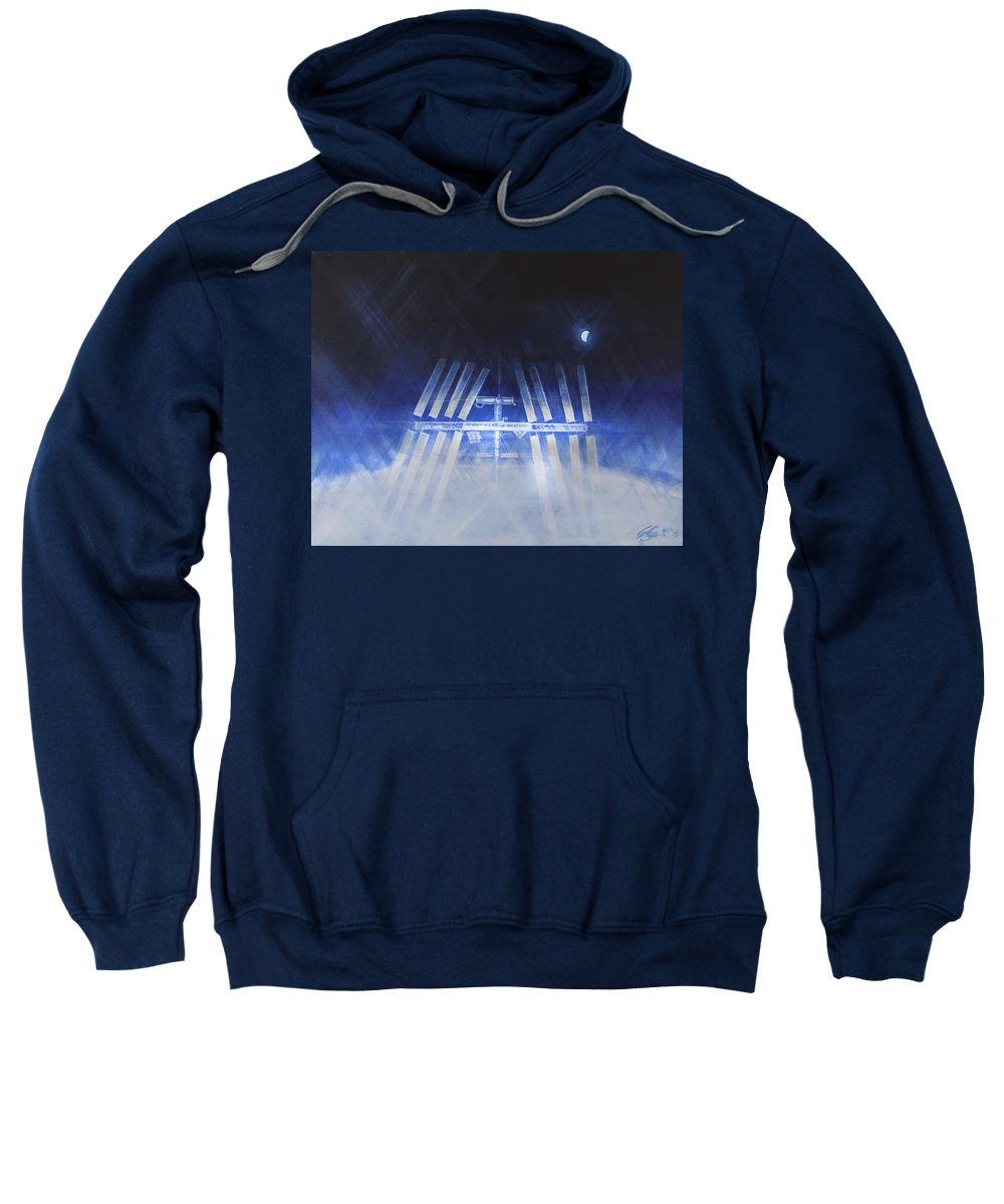 Sweatshirt featuring the painting ISS by Simon Kregar