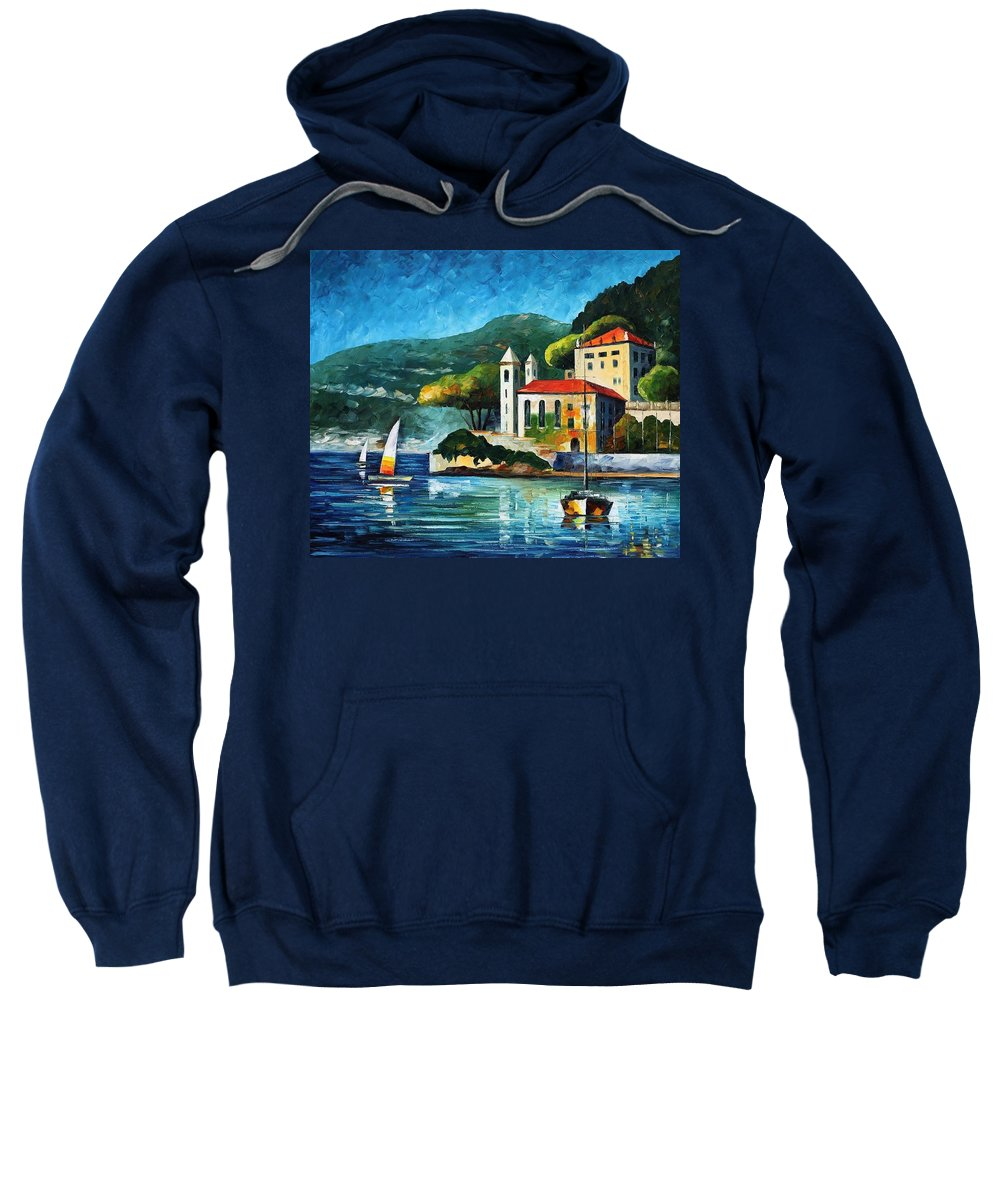 Afremov Sweatshirt featuring the painting Italy Lake Como Villa Balbianello by Leonid Afremov
