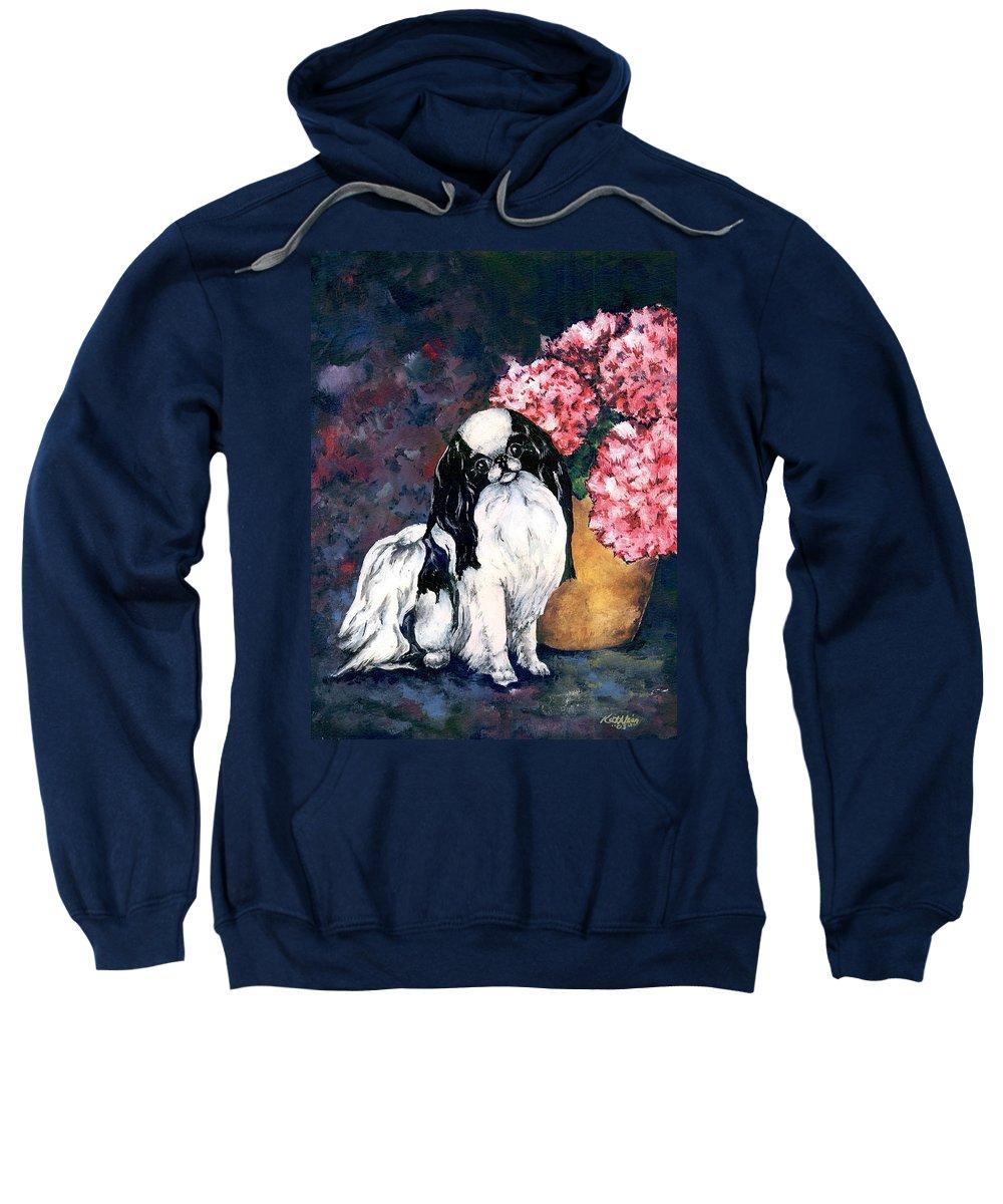 Japanese Chin Sweatshirt featuring the painting Japanese Chin And Hydrangeas by Kathleen Sepulveda