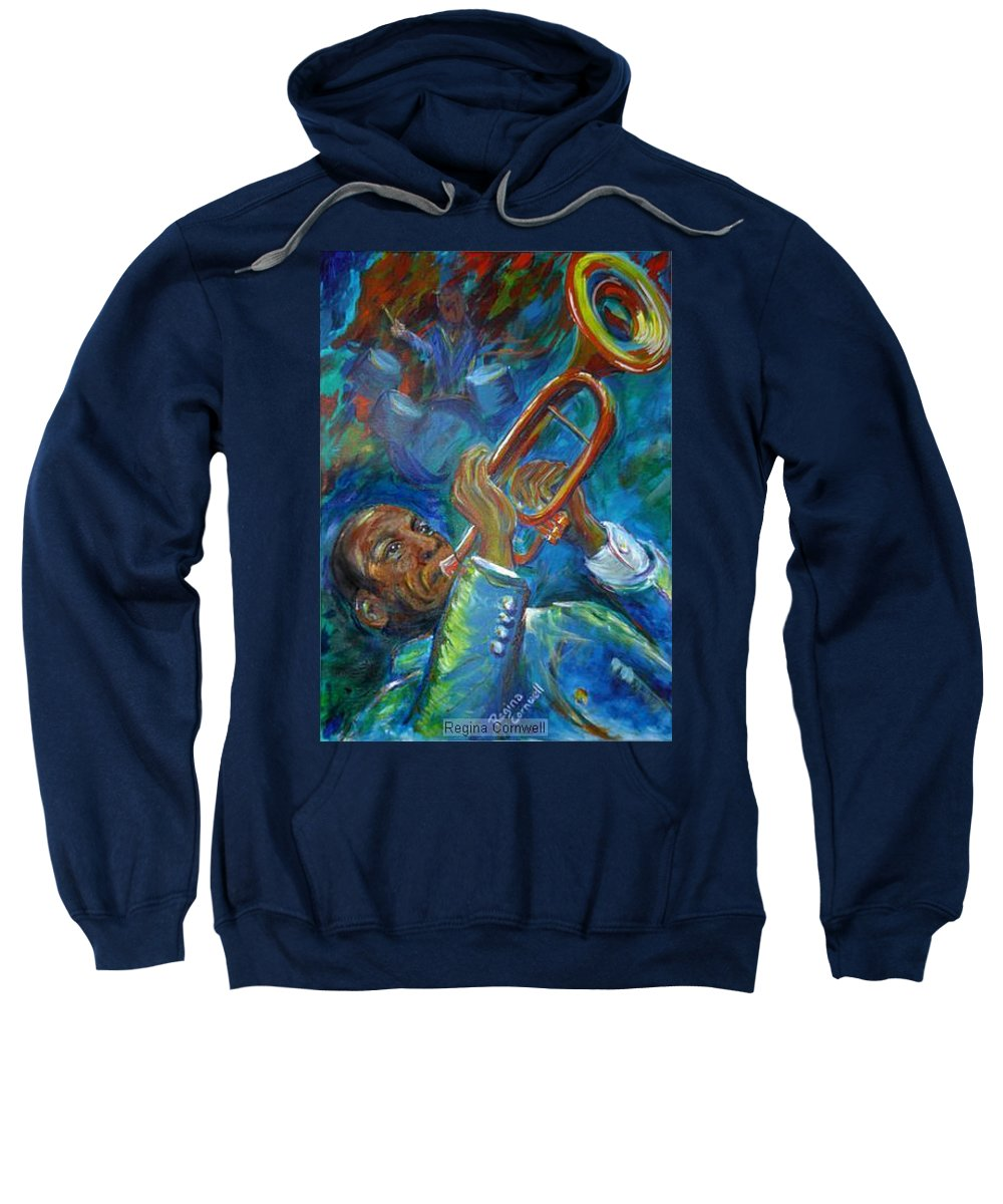 Jazz Sweatshirt featuring the painting Jazz Man by Regina Walsh
