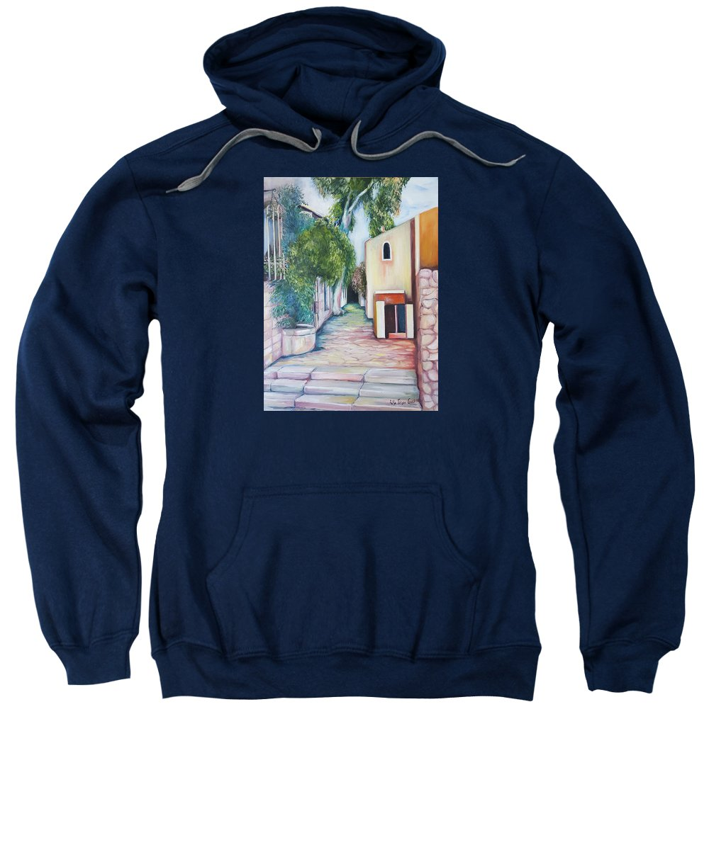 Landscape Sweatshirt featuring the painting Jerusalem's Street by Rita Fetisov