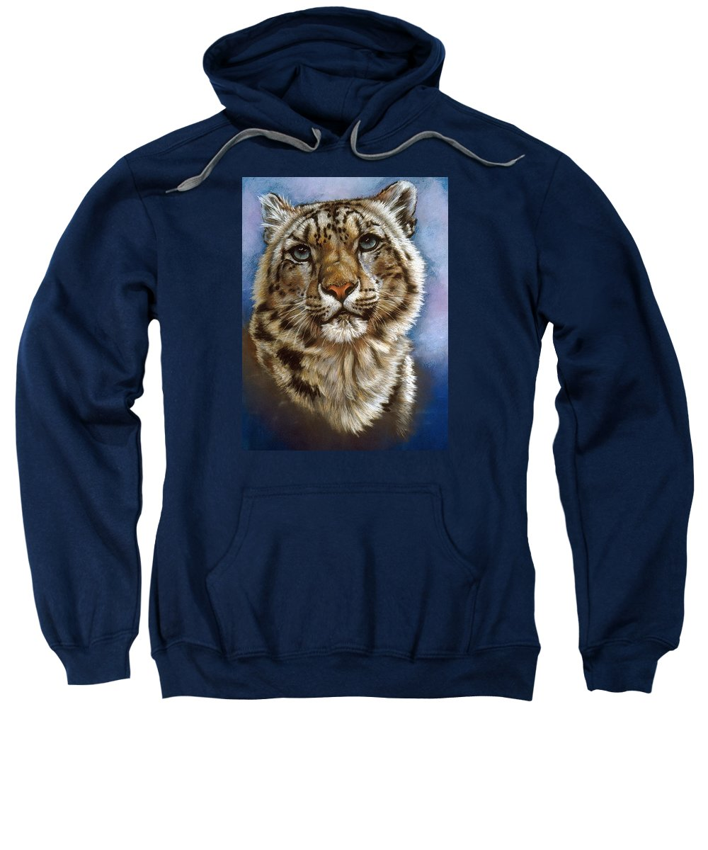 Snow Leopard Sweatshirt featuring the pastel Jewel by Barbara Keith