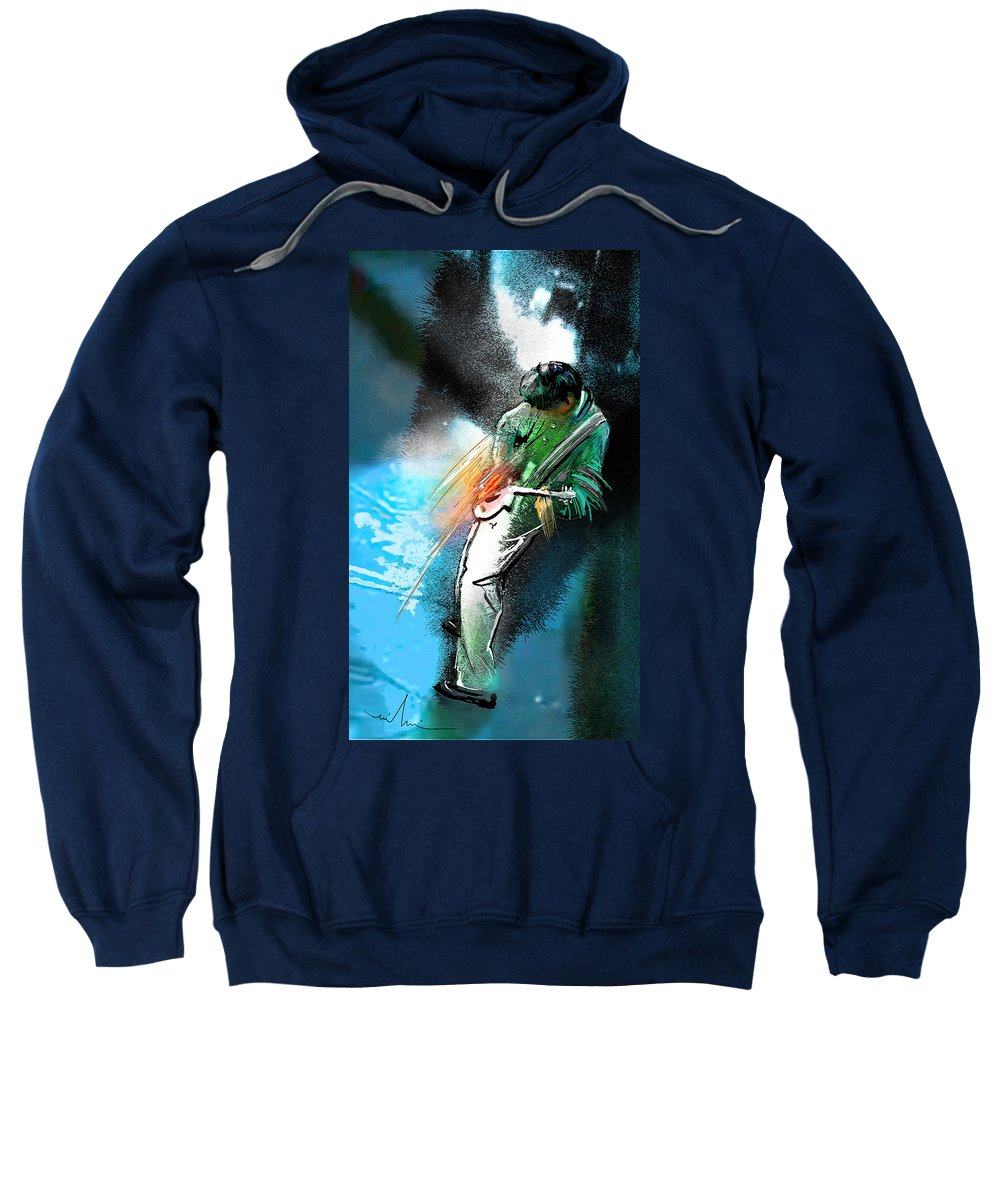 Music Sweatshirt featuring the painting Jimmy Page Lost In Music by Miki De Goodaboom