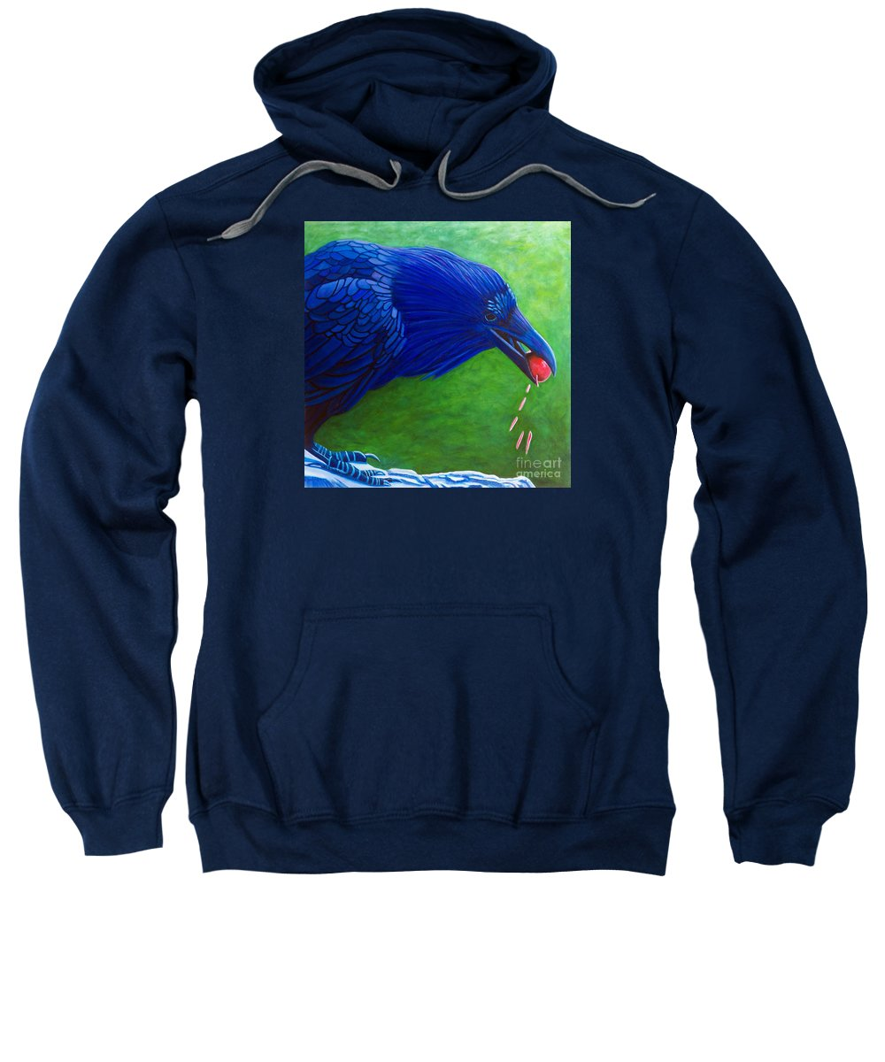 Raven Sweatshirt featuring the painting Joie De Vivre by Brian Commerford