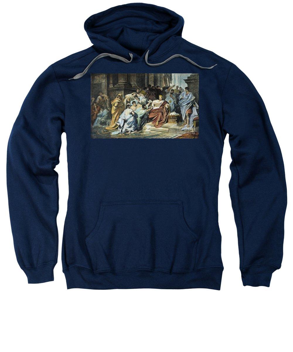 44 B.c Sweatshirt featuring the photograph Julius Caesar (100-44 B.c.) by Granger