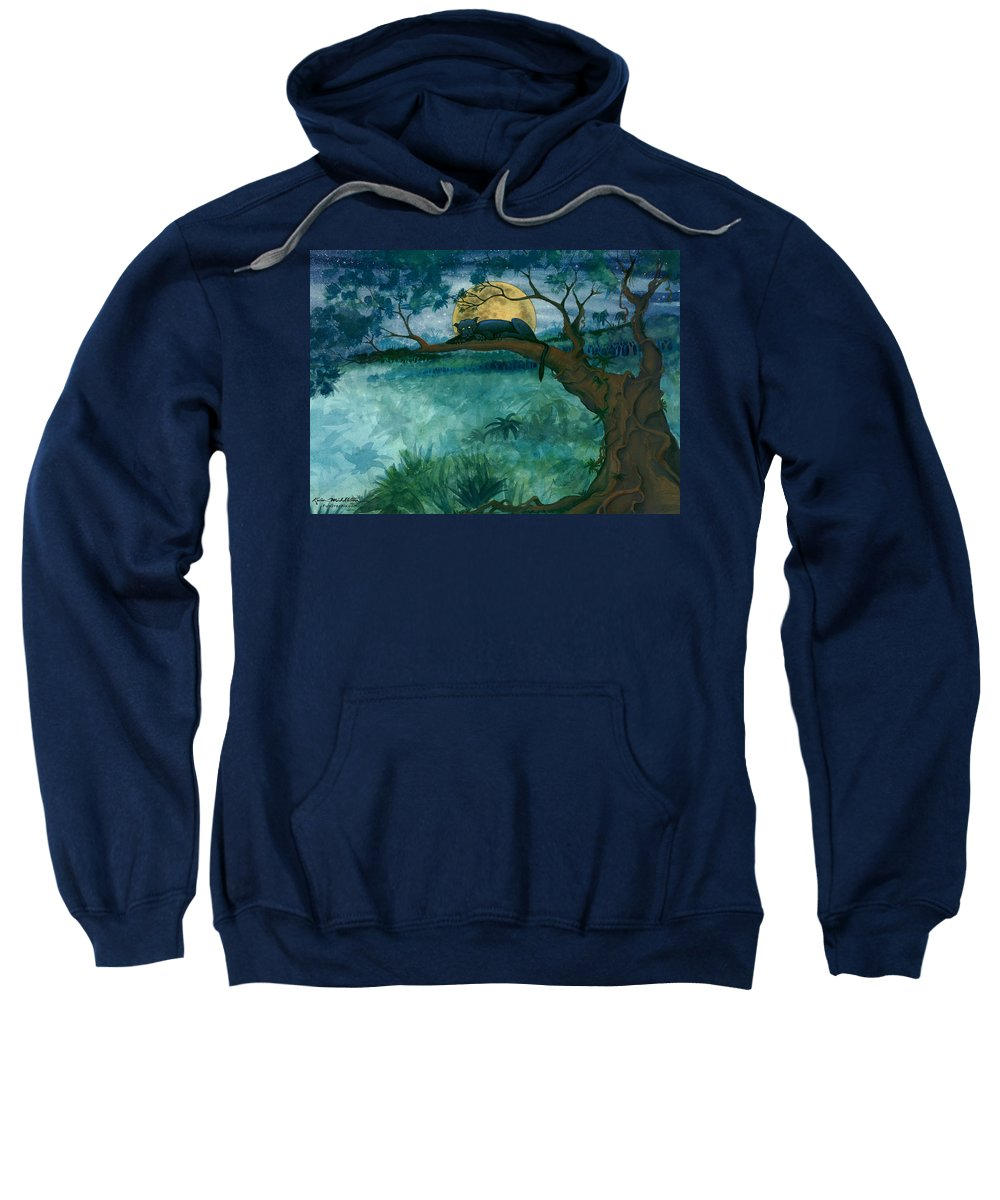 Jungle Sweatshirt featuring the painting Jungle Panther by Kevin Middleton