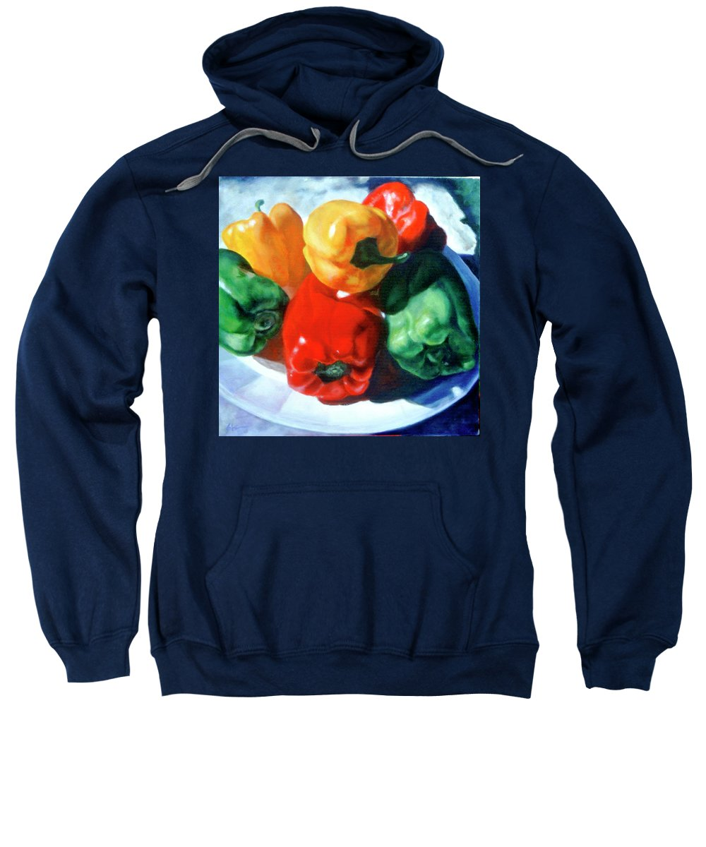 Bell Peppers Sweatshirt featuring the painting Just A Family of Peppers by Shannon Grissom