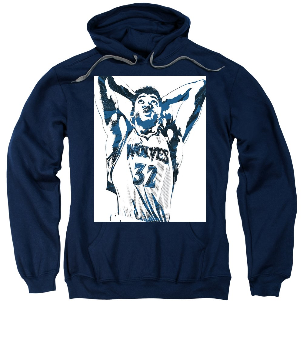 Karl Anthony Towns Sweatshirt featuring the mixed media Karl Anthony Towns Minnesota Timberwolves Pixel Art by Joe Hamilton