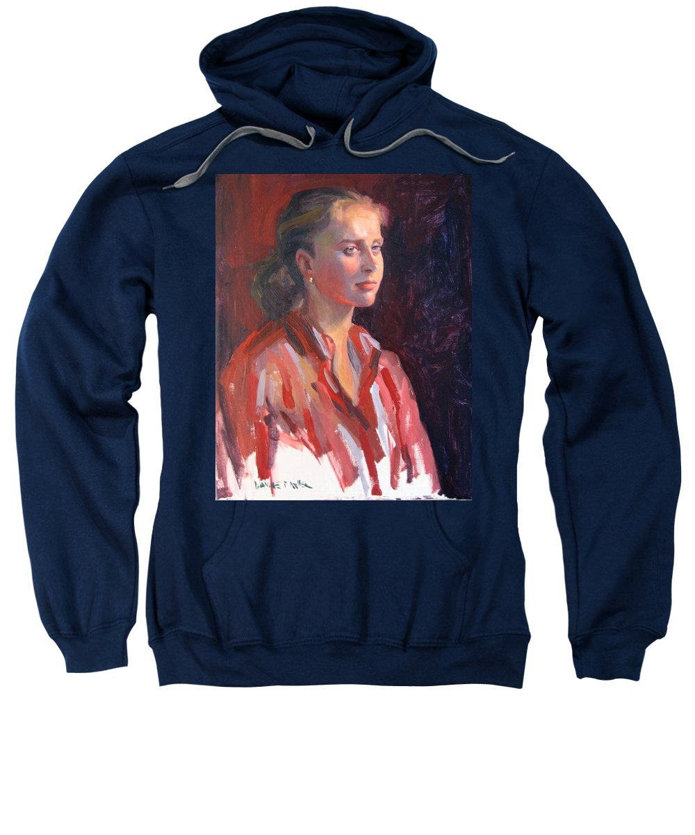 Portrait Sweatshirt featuring the painting Kate by Dianne Panarelli Miller