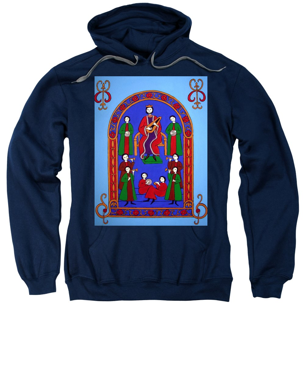 King David Sweatshirt featuring the painting King David And His Musicians by Stephanie Moore