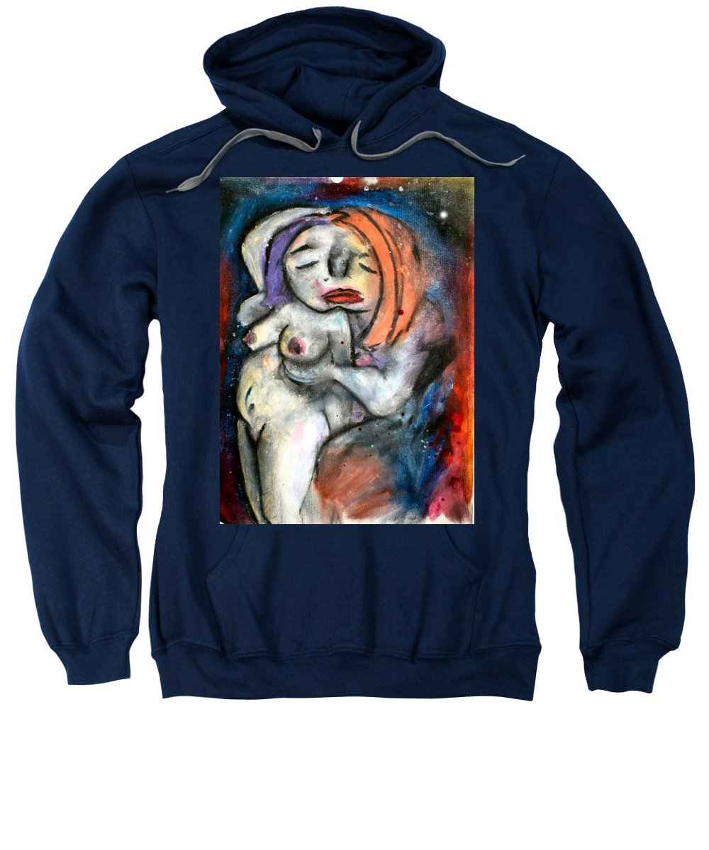 Nudes Sweatshirt featuring the drawing Kiss by Thomas Valentine