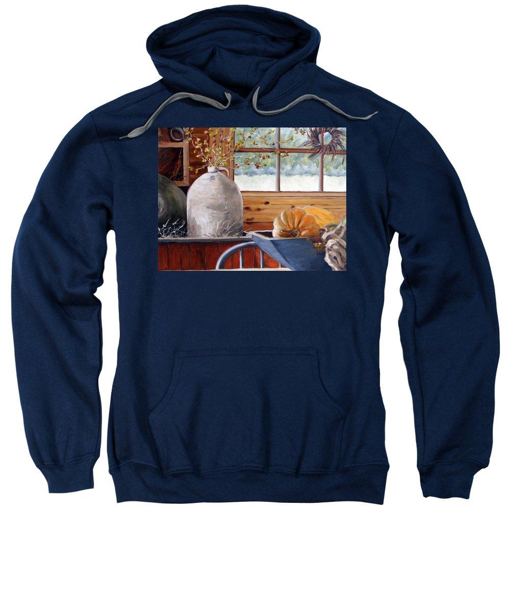 Kitchen Sweatshirt featuring the painting Kitchen Scene by Richard T Pranke