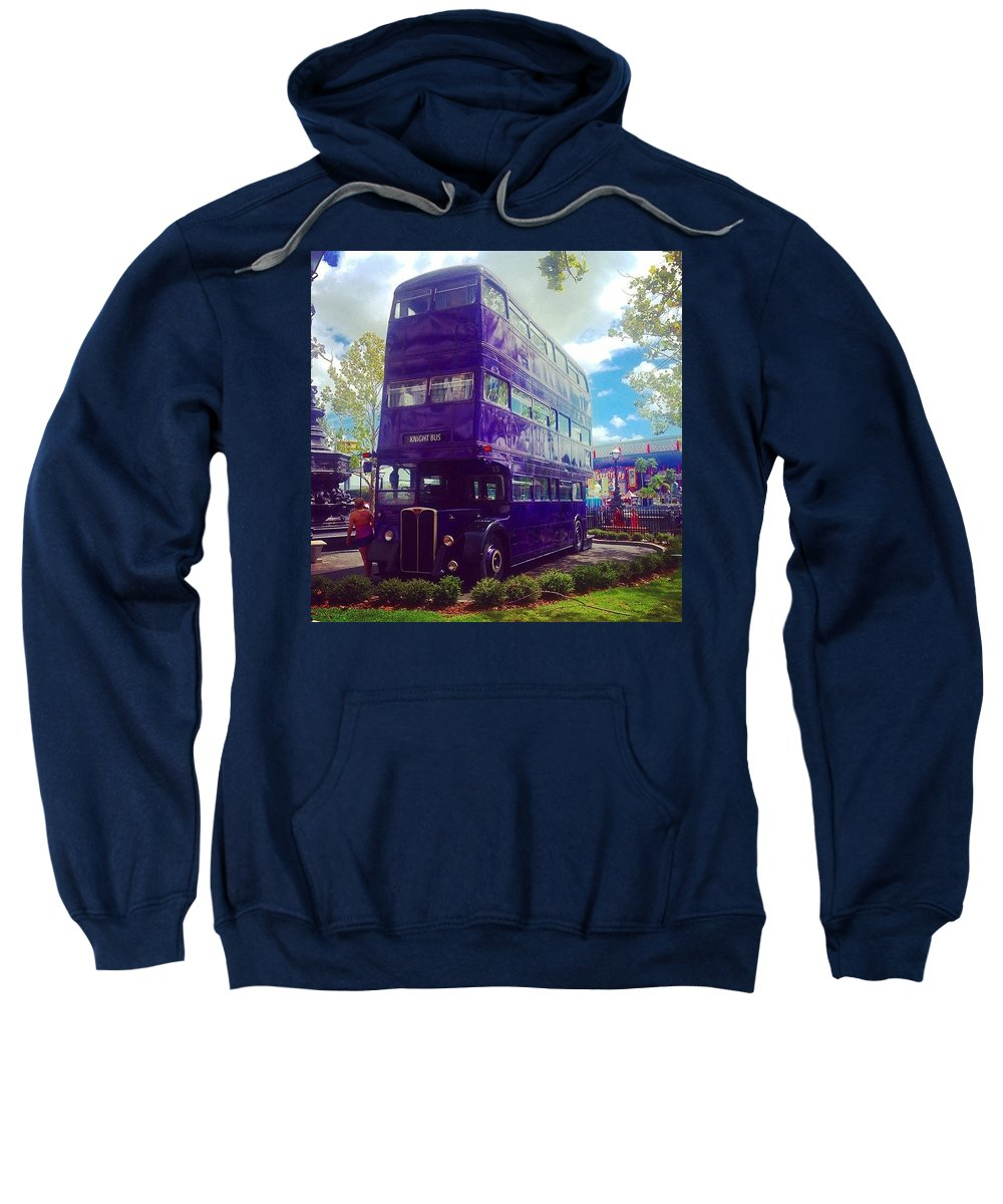 Diagon Alley Sweatshirt featuring the photograph The Knight Bus by Kate Arsenault
