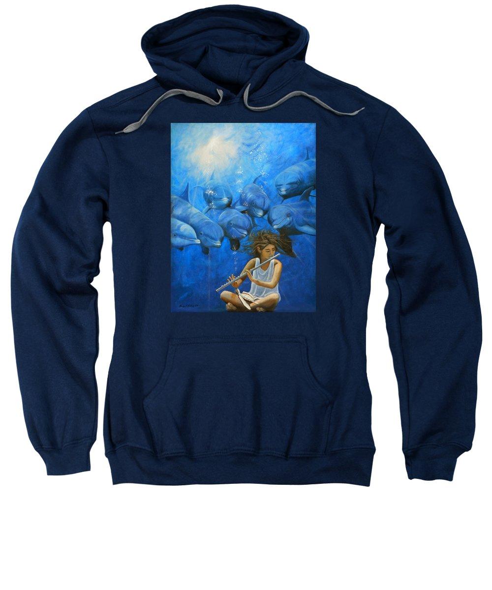 Flautista Sweatshirt featuring the painting La Flautista by Angel Ortiz