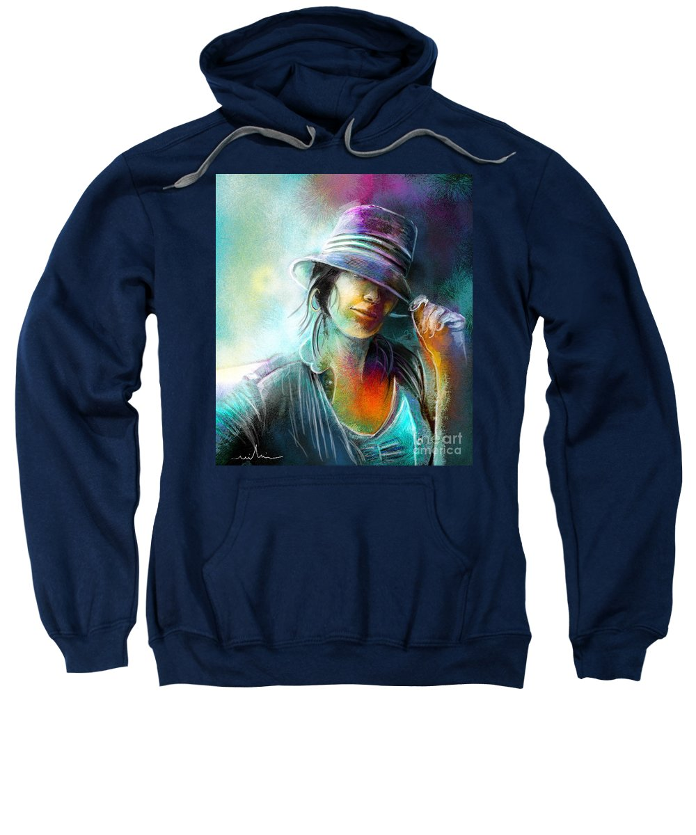 Portrait Sweatshirt featuring the painting La Tombeuse by Miki De Goodaboom
