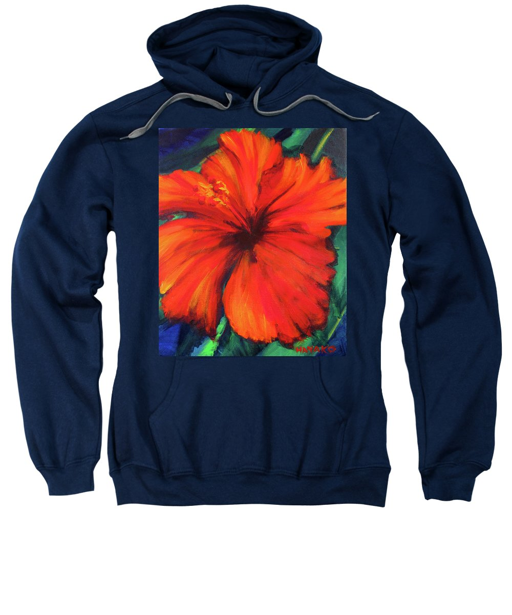 Hibiscus Sweatshirt featuring the painting Lady In Red by Hanako Hawaii