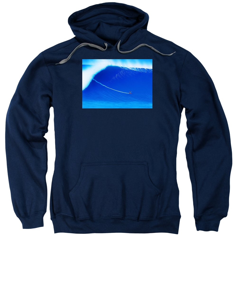 Surfing Sweatshirt featuring the painting Jaws Cliff Angle 1-10-2004 by John Kaelin
