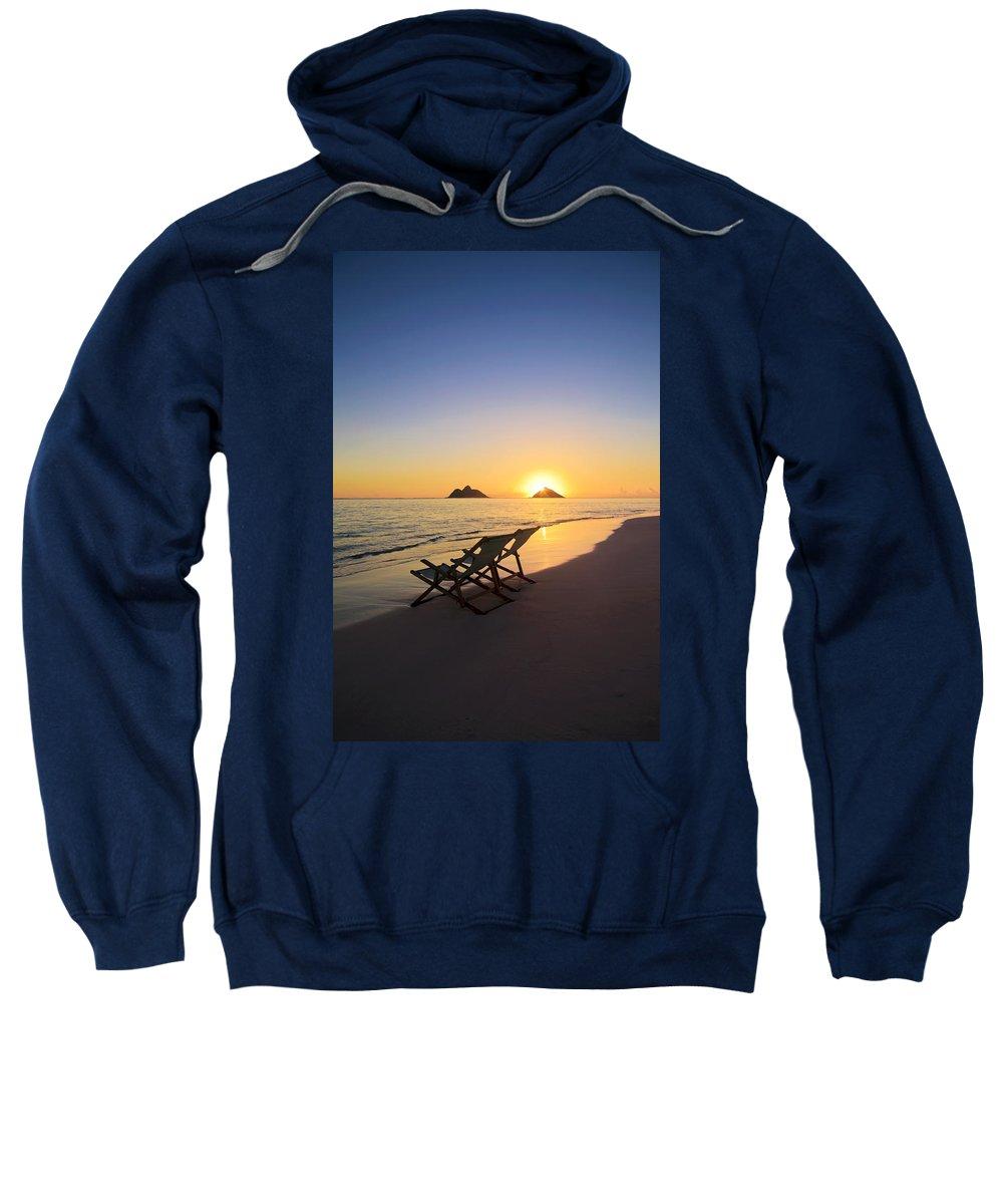 Alone Sweatshirt featuring the photograph Lanikai Lounging At Sunrise by Tomas del Amo