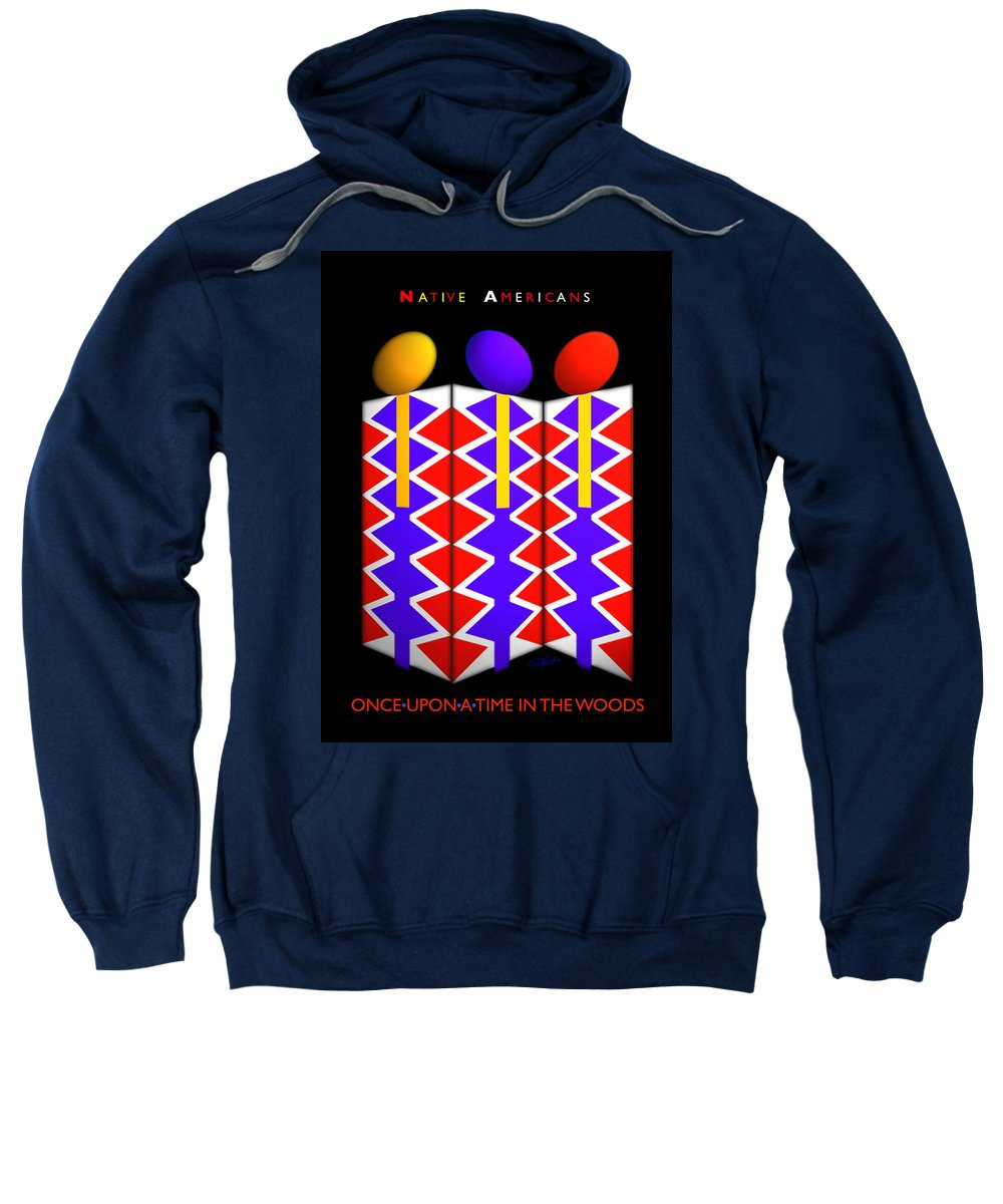 Native American Sweatshirt featuring the painting Last Of The Mohicans by Charles Stuart