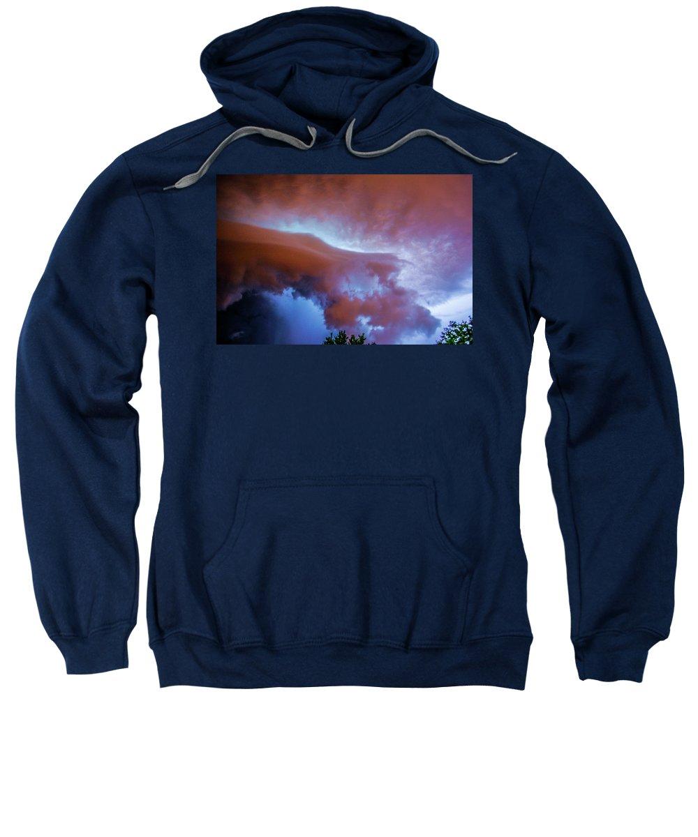 Nebraskasc Sweatshirt featuring the photograph Late Night Nebraska Shelf Cloud 007 by NebraskaSC
