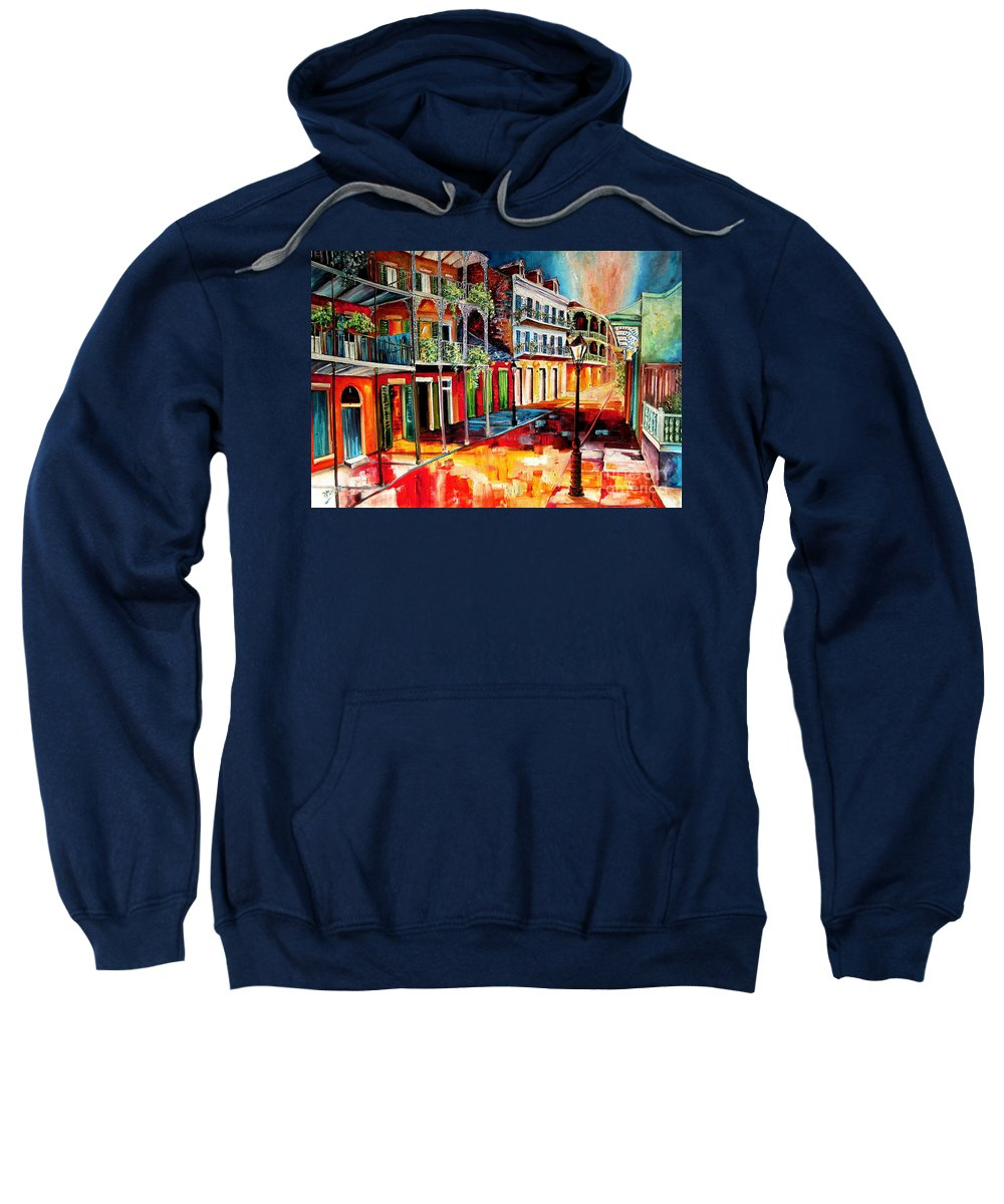 New Orleans Sweatshirt featuring the painting Late On Royal Street by Diane Millsap