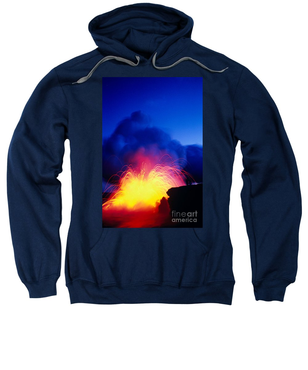 A'a Sweatshirt featuring the photograph Lava Explodes by Greg Vaughn - Printscapes