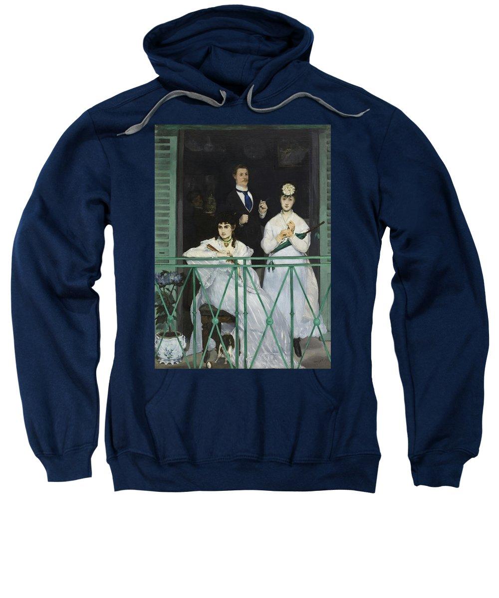 Manet - Le Balcon 1868 Paris Sweatshirt featuring the painting Le Balcon by MotionAge Designs