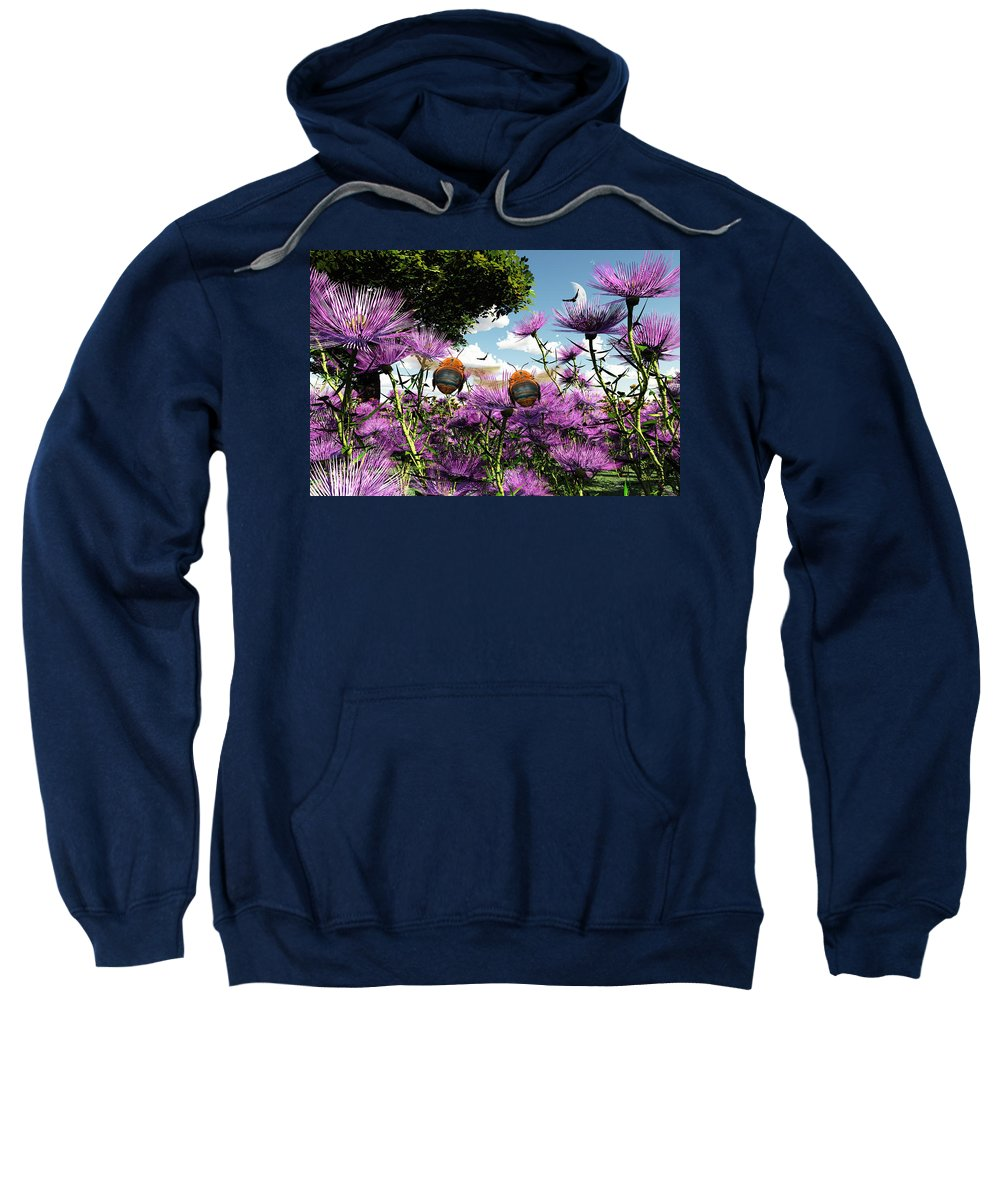 Bloom Sweatshirt featuring the digital art Two Bumblebees Discover The World by Max Steinwald