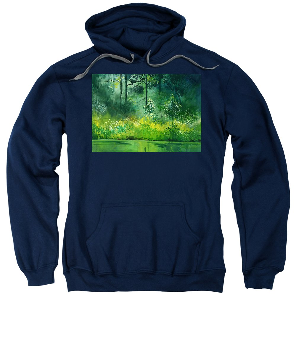 Water Sweatshirt featuring the painting Light N Greens by Anil Nene