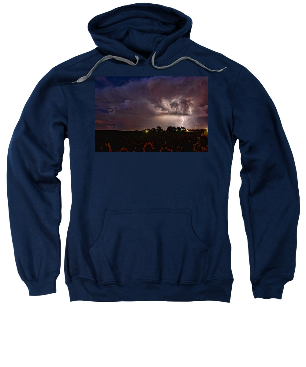 Sunflowers; Fields; Lightning; Lightening; Chasers; Lightning Poster; Lightning Photography; Lightning Gallery; Picture Of Lightning; Lightning Storm Pictures; Lightning Photos Colorado; Pictures Of Storm Clouds And Lightning; Lightning Art; Lightnen Sweatshirt featuring the photograph Lightning Stormy Weather Of Sunflowers by James BO Insogna