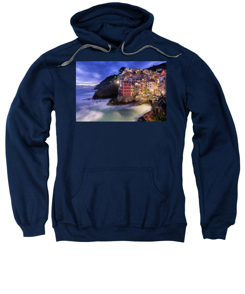 Europe Sweatshirt featuring the photograph Lights Of Riomaggiore by Michael Blanchette