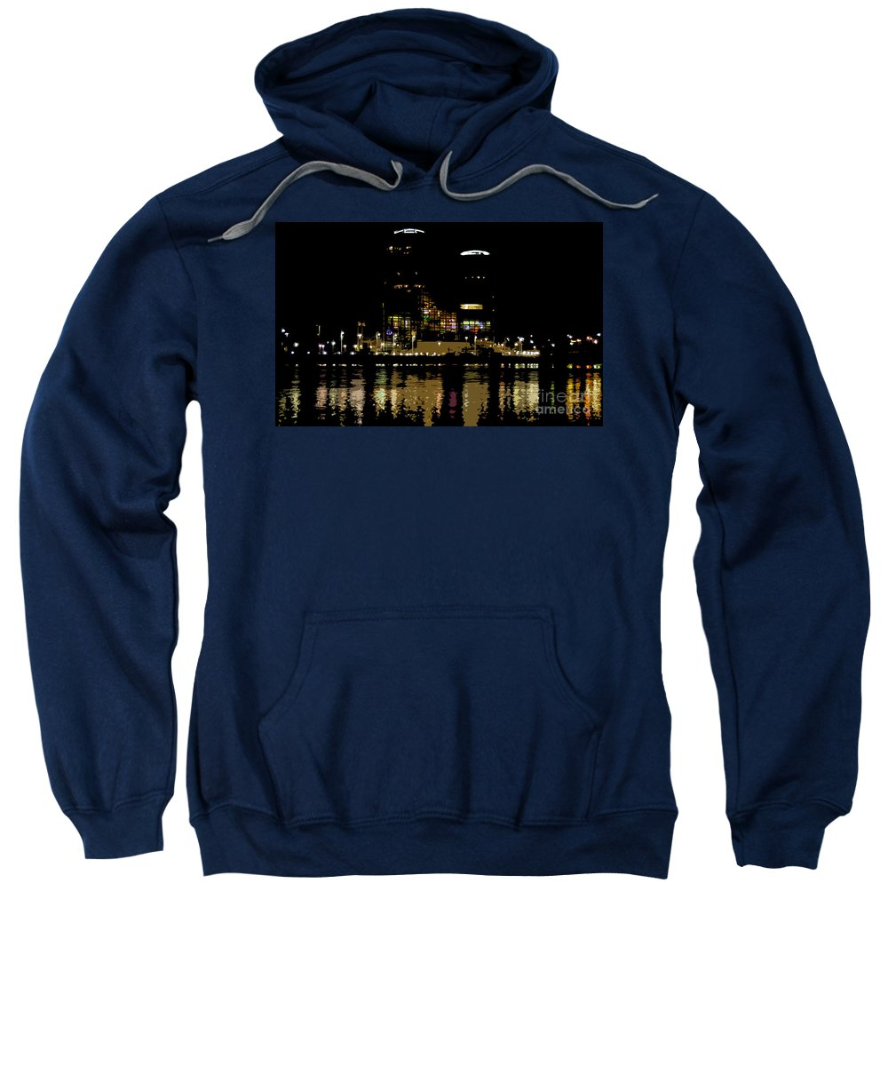 Tampa Museum Of History Sweatshirt featuring the painting Lights On History by David Lee Thompson