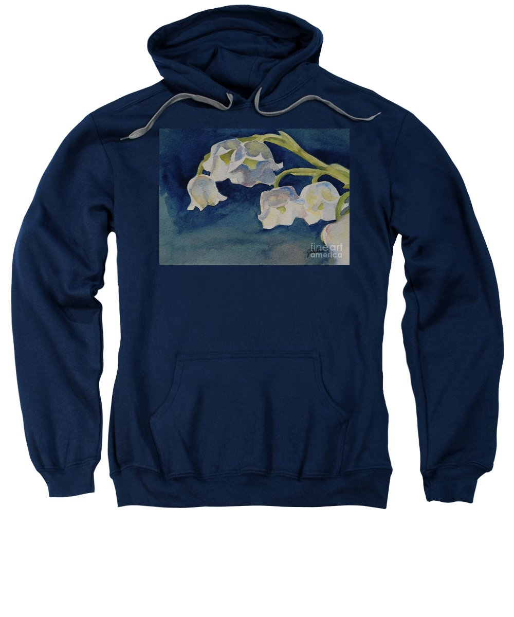 Lilly Of The Valley Sweatshirt featuring the painting Lilly Of The Valley by Gretchen Bjornson