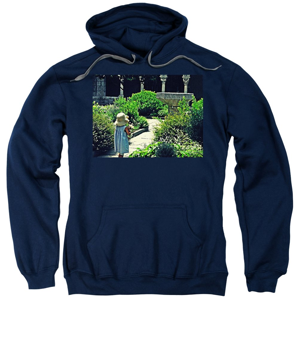 Cloister Sweatshirt featuring the photograph Little Girl At The Cloisters by Sarah Loft