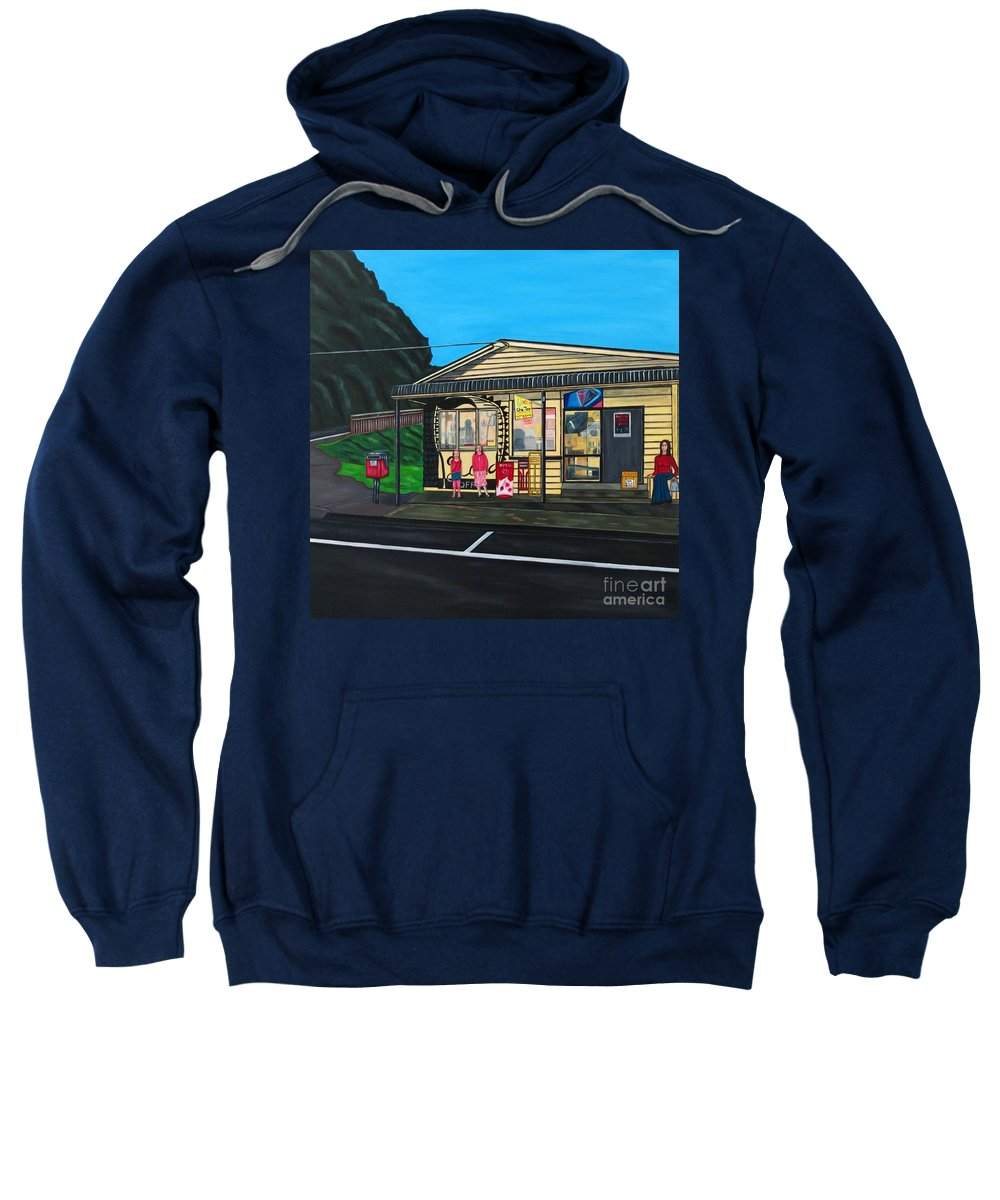 Buildings Sweatshirt featuring the painting Little Oneroa Store by Sandra Marie Adams