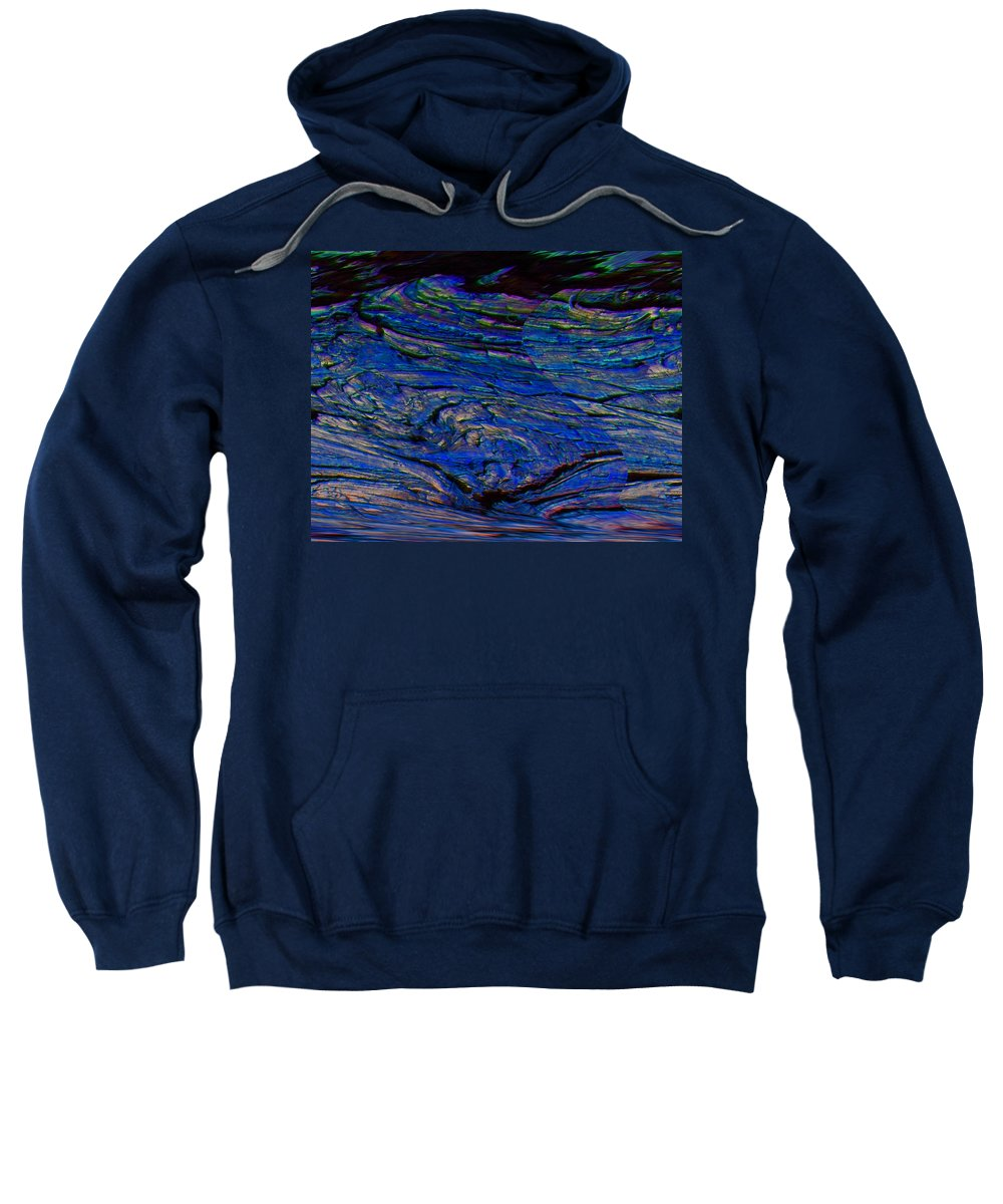 Abstract Sweatshirt featuring the digital art Lone Bird Over Night Ocean by Lenore Senior