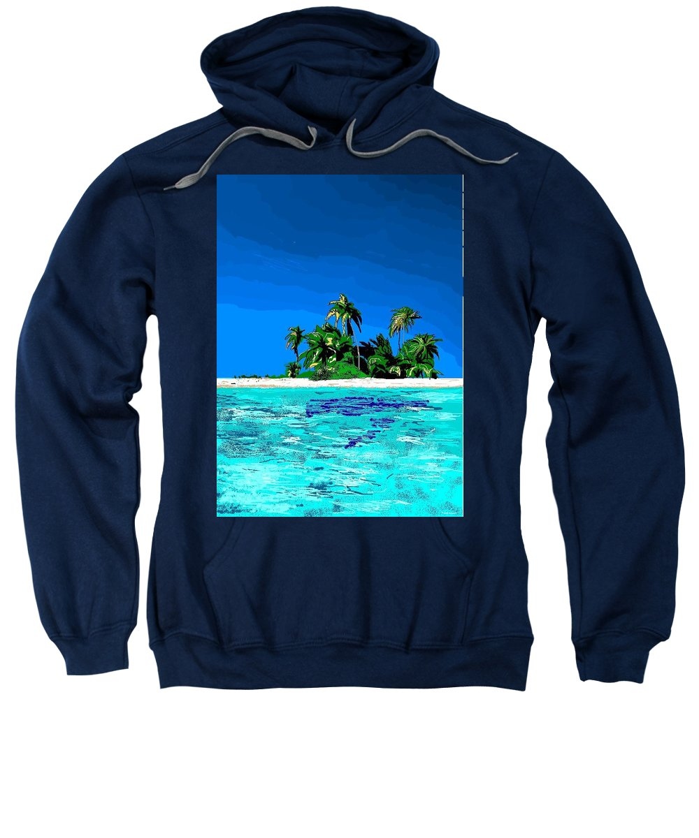 Tropical Island Sweatshirt featuring the digital art Lonely Island by Robert Rodriguez