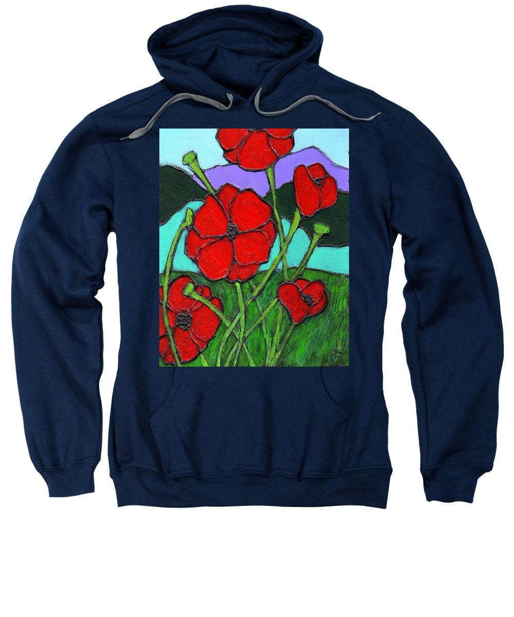 Poppies Sweatshirt featuring the painting Looking Up by Wayne Potrafka