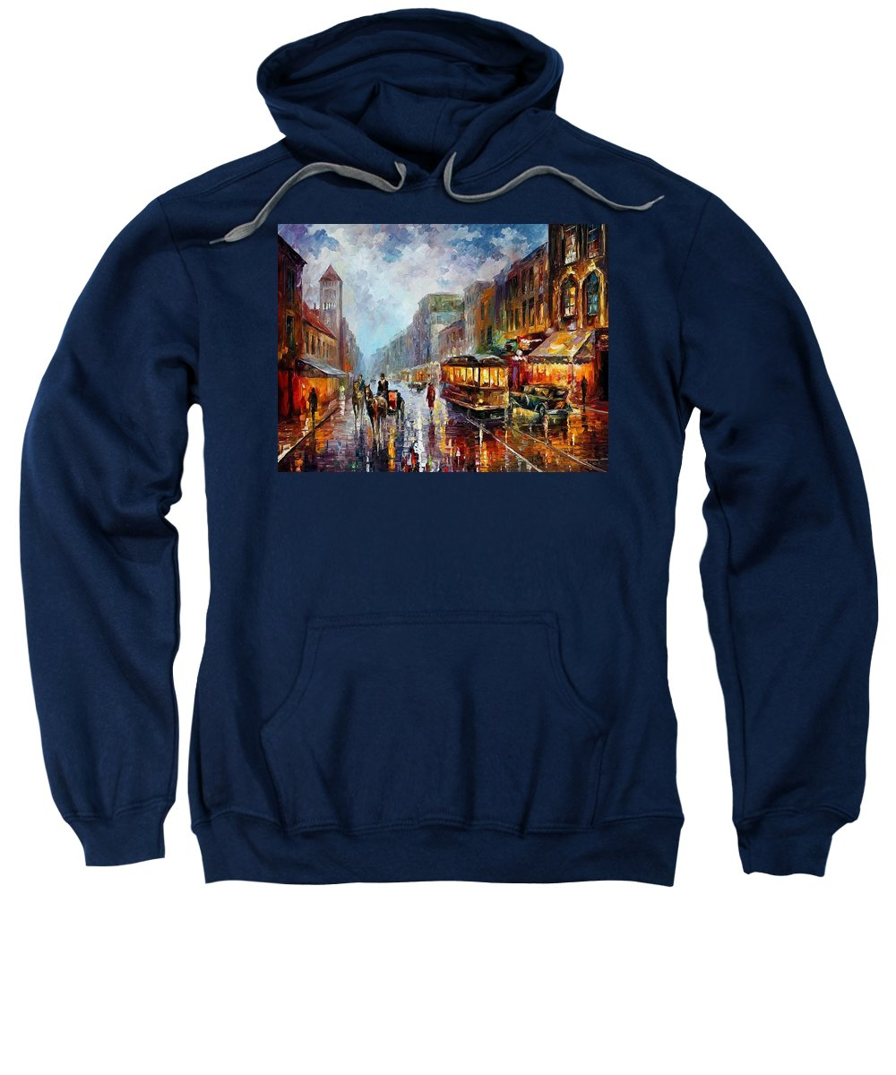 Afremov Sweatshirt featuring the painting Los Angeles 1925 by Leonid Afremov