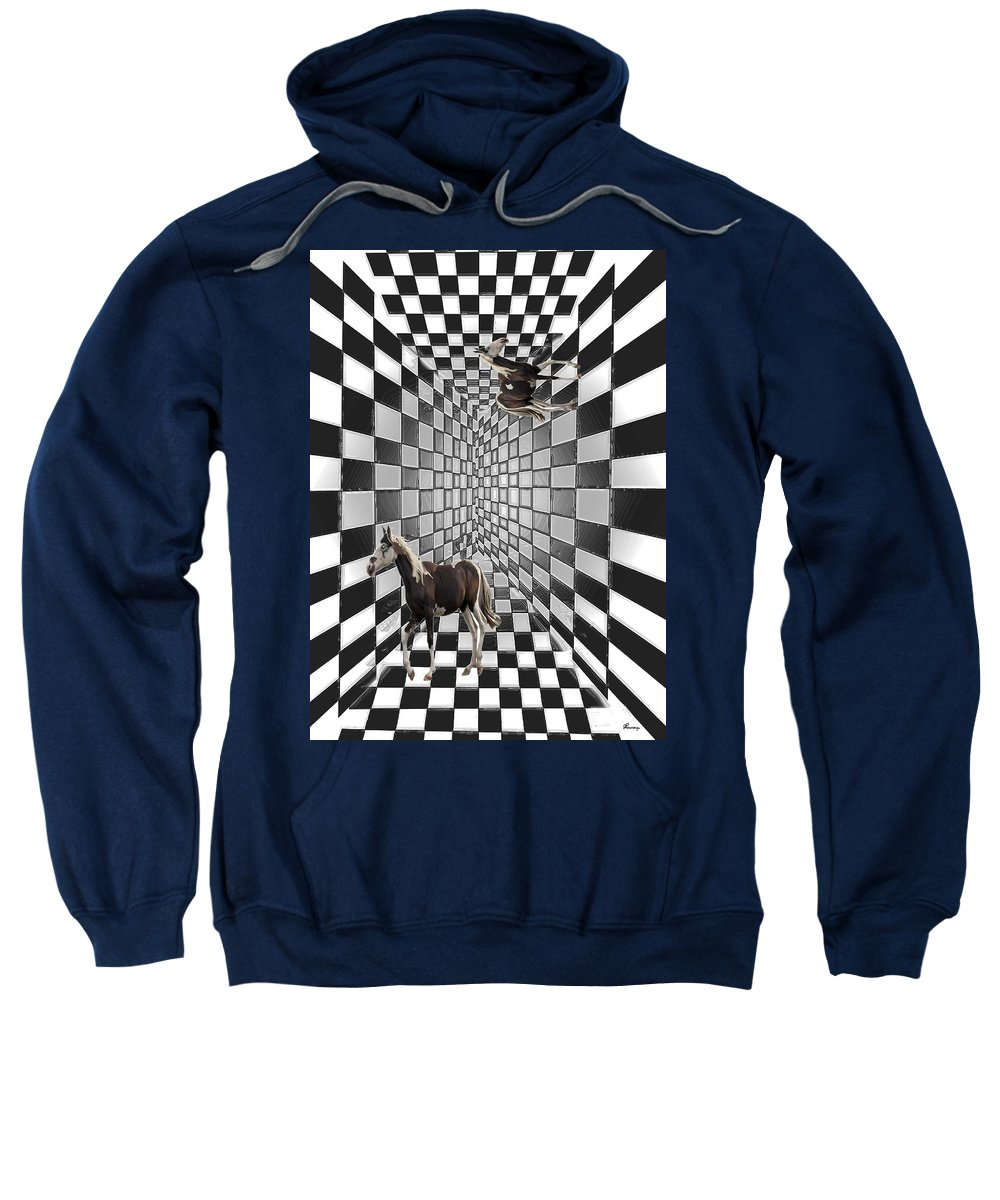 Horse Horses Lost Soul Maze Animal Black And White Paint Digital Artist Regina Sk Sweatshirt featuring the digital art Lost Souls by Andrea Lawrence