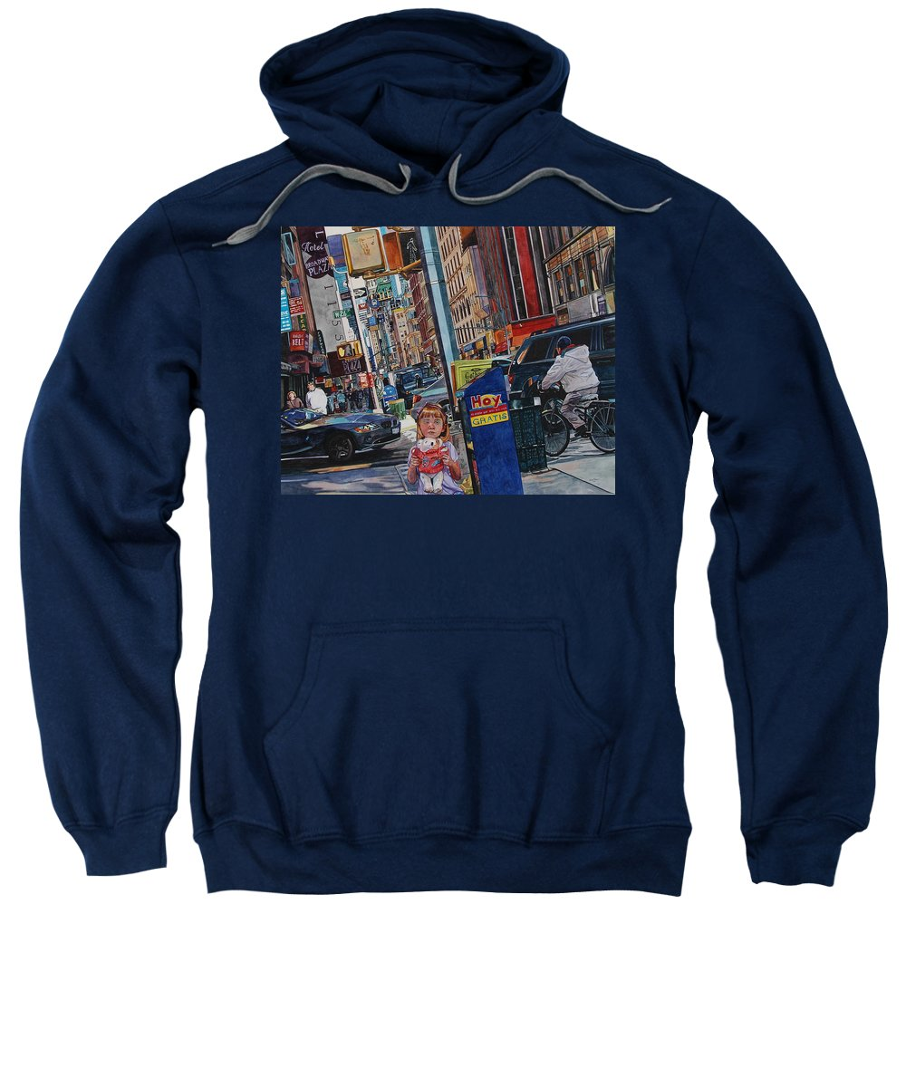 City Sweatshirt featuring the painting Lost by Valerie Patterson