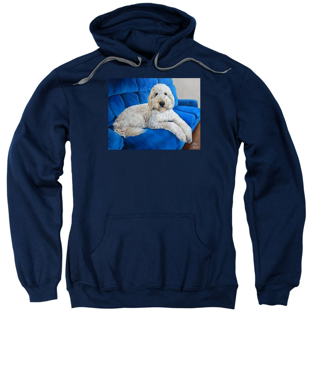 Lounging Goldendoodle Sweatshirt featuring the painting Lounging Goldendoodle by Alexandra Cech