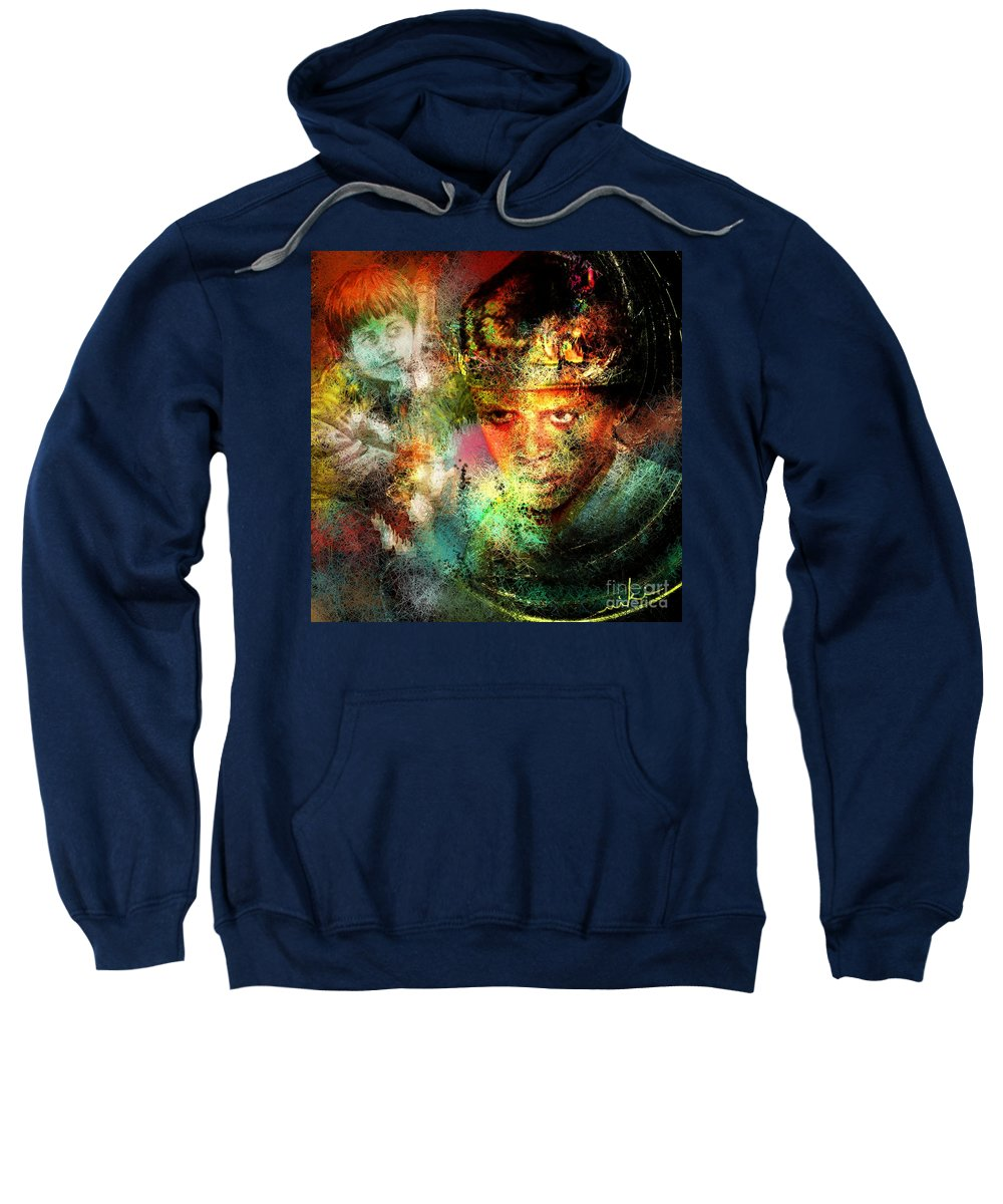 Portrait Sweatshirt featuring the painting Love For The Boy King by Miki De Goodaboom