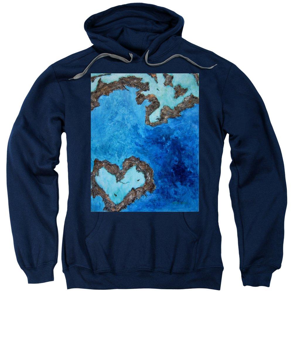 Great Barrier Reef Australia Sweatshirt featuring the painting Love Heart Reef by Georgia Mansur